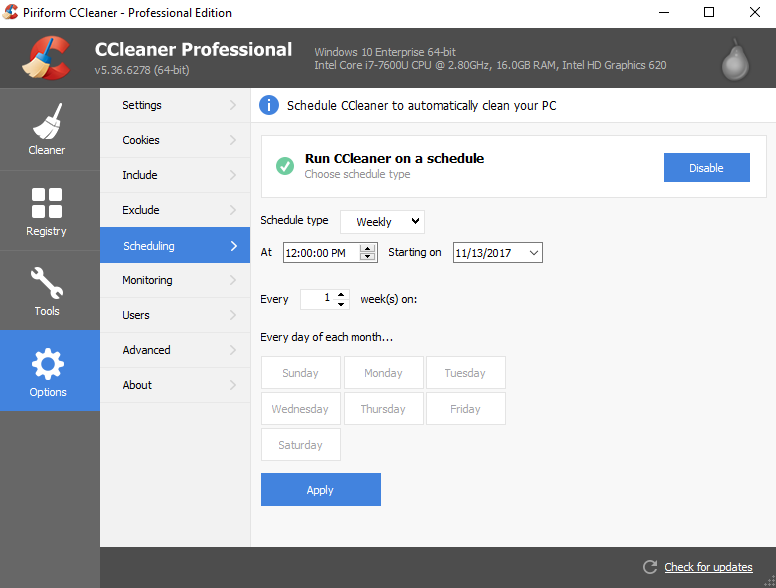Scheduled Cleaning using CCleaner