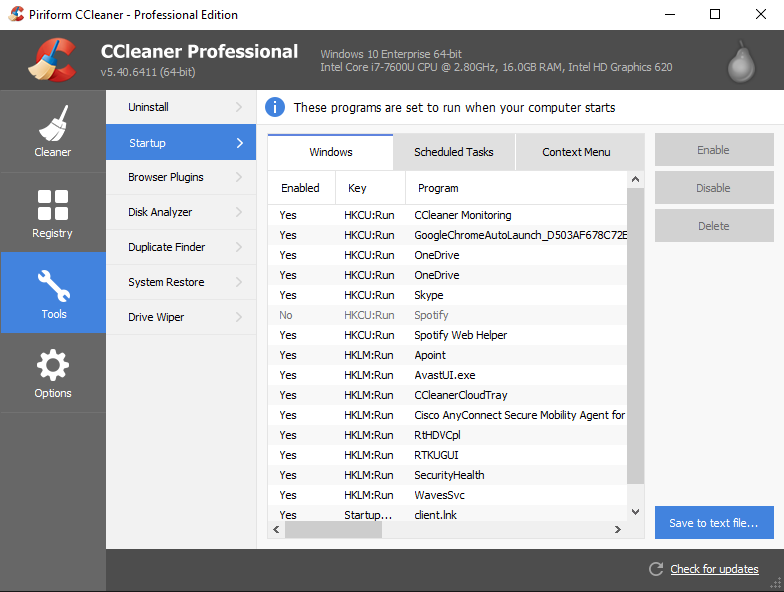 CCleaner Screenshot showing the startup management screen