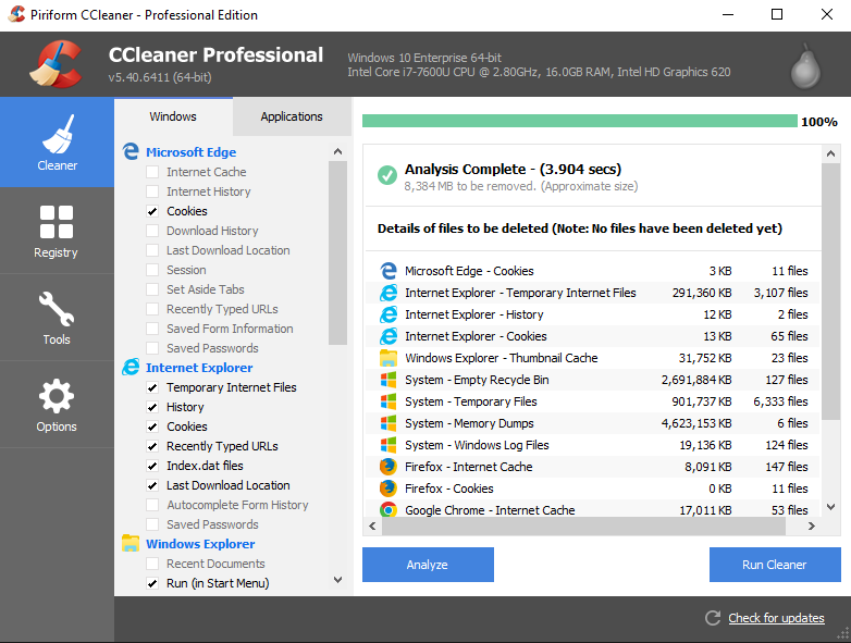 Screenshot of CCleaner showing only Microsoft Edge cookies being cleaned