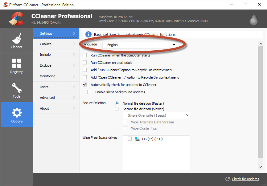 CCleaner - Changing the Language