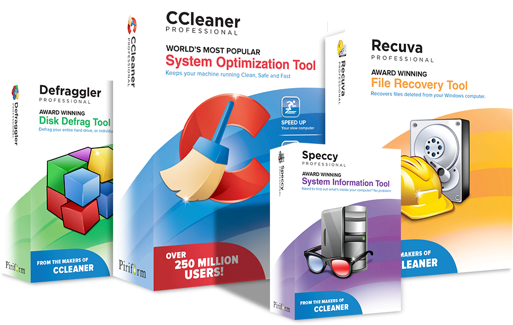 CCleaner, Defraggler, Speccy and Recuva Professional Editions product images